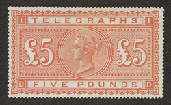 Great Britain: Telegraphs: 1876-81 £5 orange, unused.